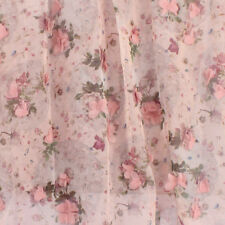 Apparel Sewing Fabric Chiffon Appliqued Flower Lace Printed Cloth BY YARD