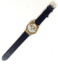 Japan Movt Women's Black and Gold Watch with Cat Face