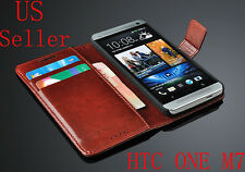 Luxury Leather Flip Card Wallet Case Stand Cover Skin For HTC ONE M7