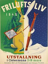 1945 Snow Ski Bunny Sweden Scandinavia Vintage Travel Poster Advertisement