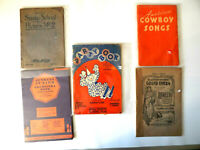 Lot of 5 Vintage Music and Activity Books Cowboy Songs Hymns Party Book