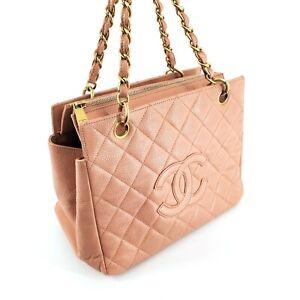 CHANEL Petite Small CC logo Chain tote Pink Caviar Gold Handbag Zip trendy 08081