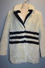 J Crew Teddy Striped Plush Fleece Coat Jacket Sz M  Cream Navy 2017 #H2298 $248