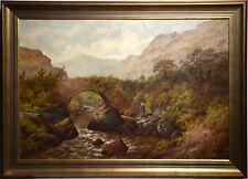 Good Landscape w Leddr Bridge North Wales Antique Oil 1892 by Gummery
