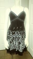 BCBG Womens Black Floral Pleated Tulle Lined Umpire Spaghetti Strap Dress Size 4
