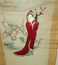JAPANESE WOMAN EMBROIDERY TAPESTRY SCROLL PAINTING SIGNED