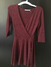 Urban Outfitters Kimchi Blue Red Maroon Burgundy Wrap Cozy Sweater Dress XS