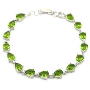 SheCrown Romantic Green Peridot Jewelry For Woman's Silver Bracelet 8.0-9.0inch