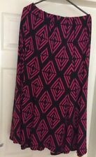Ladies Black And Pink Elasticated Flare Skirt With Belt Size 16
