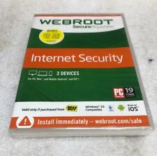 Webroot SecureAnywhere Internet Security w/ Antivirus - Windows 10 3 Devices NEW