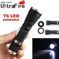 UltraFire Tactical Flashlight Zoomable 50000LM 3-Modes T6 LED 18650 Torch Lamp