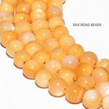 39 beautiful vintage apricot shell m-o-p round beads japan 60+ yrs #18i