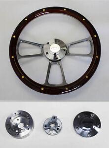 "1957-1968 Impala Bel Air Mahogany w/rivets Billet Steering Wheel 14"" Bowtie Cap"