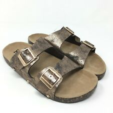 Mudd Womens Copper Open Toe Double Buckle Side Flat Sandal Shoes Large 9/10  NWT