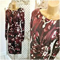 Ghost London 💋Abstract Floral Print Slinky Stretch Twisted Midi Dress UK 16