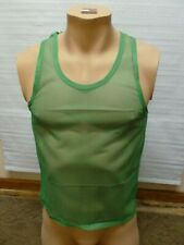 Johnnie Owens 100% Nylon Tank Top Small Vintage Old Stock Green