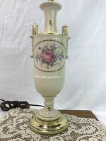 Vtg Neoclassical Table Lamp Urn Art Deco Greek Roman Pink Roses Ceramic & Brass