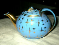 Mid Century Cadet Blue Atomic Teapot by Hall Hook Lid Eva Zeisel 6 Cup