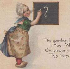 Dutch Girl Writing Chalk Board Gibson Postcard