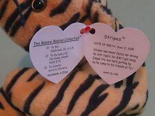 Ty Beanie Babies - Stripes th Tiger - MWMT - DOB: June 11, 1995 - PVC Pellets