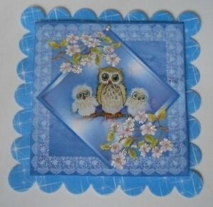 PACK 2 PRETTY BLUE OWLS EMBELLISHMENT TOPPERS FOR CARDS AND CRAFTS