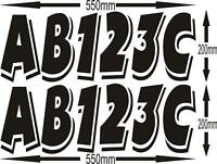 CUSTOM BOAT REGO REGISTRATION 200 by 550MM PAIR STICKER both side stickers