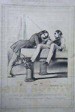 LITHOGRAPHIE de GAVARNI 19ème  LE BILLARD