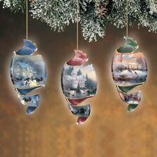 "Thomas Kinkade ""Home Town Memories Spiral Ornaments Set of 3   Free Ship USA"