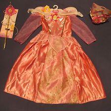 NWT Aurora Sleeping Beauty Girl Costume 4 5 6 6X Dress Tiara Wand Lot Halloween