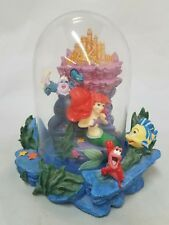 Vintage Disney Little Mermaid Glass Dome Figurine Ariel Eric Ursula Flounder