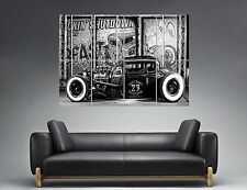 Hot Rod Vintage Car Classic B&W  Wall Art Poster Grand format A0