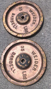 Pair of Rare Vintage Weider Flatback Weight Plates 2x 35 lb 70 lbs Total