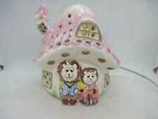 Piggery Pottery Welsh Hedgehog Toadstool House child`s bedside lamp night light