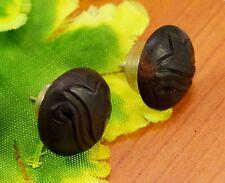 Black Wooden Handmade African Tribal Wood Fake Gauge Stud Earrings EAR367