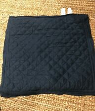 Pottery Barn 100% Linen Diamond Quilted Euro Pillow Sham Square Navy Blue