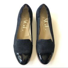 AGL Navy Canvas and Patent Ballet Flats Size 39