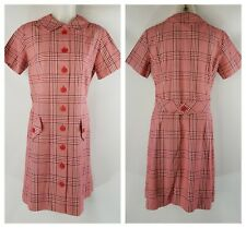 Vintage 1960s Red Plaid Mod Dress- Size M to L- Button Front Day Dress