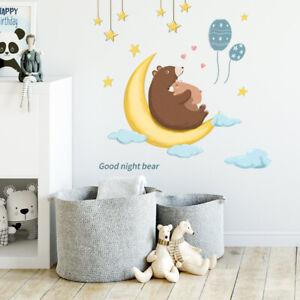 Good Night Moon Bear Star Wall Sticker Kids Baby Nursery Room Art Decal Gift