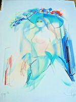 RARE Vintage Limited Edition Original Nude Watercolor by Jean Claude Valadie