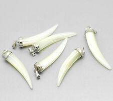 Fang Charm Pendant - Shell - Vampire Werewolf tooth Fangs - 43x8mm (Qty x 2)