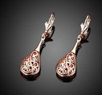 18K Rose Gold Plated Filigree Teardrop Lever Back Drop Dangle Earrings L130