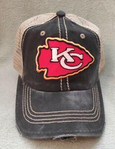 Kansas City Chiefs Distressed Red Arrow Hat Black & Khaki Adjustable Ball Cap