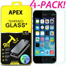 4X 100% Genuine Tempered Glass Screen Protector For Apple iPhone 5 6S 7 8 X Plus