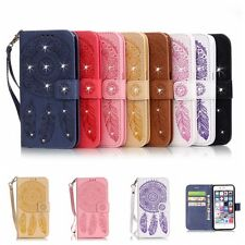 Magnet Diamond Bling Wallet Flip Leather Case Cover For iPhone Samsung LG Huawei