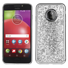 For Motorola Moto E4 - TPU Rubber Gummy Skin Case Cover Silver Shiny Foil Flakes