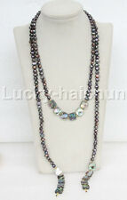 "length 52"" 8mm Baroque black pearls Abalone shell necklace j11658"