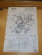 HILLMAN MINX SV 1955-56 ZENITH 30 VM-7 CARBURETTER SPARE PARTS TECHNICAL NOTES