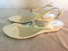 Michael Kors White Patent Leather Thong Low Wedge Charm Sandal Sz  8.5 Worn Once