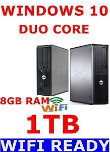DELL DESKTOP PC DUO CORE 8GB RAM 1TB WINDOWS 10 COMPUTER WIRELESS READY