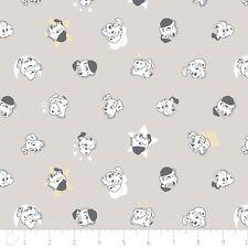 Nursery Baby Disney Fabric - 101 Dalmatians Puppy Faces Lt Gray - Camelot YARD